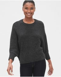 Gap Wo Sweater With Batwing Sleeves And A Round Collar - Gray