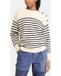 Polo Ralph Lauren - Striped Sweater With Buttons On One Shoulder - Lyst