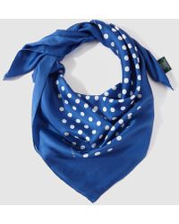 Lauren by Ralph Lauren - Navy Blue Polka Dot Print Silk Handkerchief - Lyst