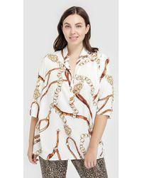 Couchel - Plus Size Short Sleeve Chain Print Blouse - Lyst