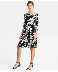 Yera - Floral Print Dress With Flounced Skirt - Lyst