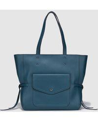 El Corte Inglés - Petrol Blue Shopper With An Outer Pocket - Lyst