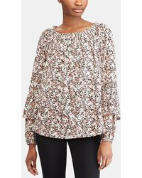 Lauren by Ralph Lauren - Floral Print Off-the-shoulder Blouse - Lyst