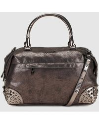 Pepe Moll - Silver Bowling Bag With Studs - Lyst