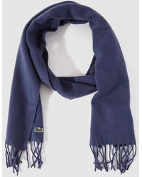 Lacoste - Blue Cashmere And Wool Scarf - Lyst