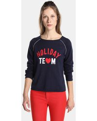 Green Coast - Navy Blue Sweater With Intarsia - Lyst