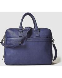 Guess - Blue Saffiano Effect Briefcase - Lyst