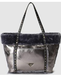 Pepe Moll - Large Silver Tote Bag With Matching Fur - Lyst