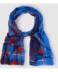 Tommy Hilfiger | Blue Checked And Star Print Foulard | Lyst