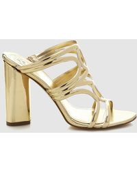 Guess - Gold Clogs With Plaited Vamp - Lyst