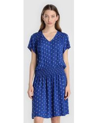 indi & cold - Short Blue Dress With A Contrasting Print - Lyst
