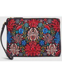 El Corte Inglés - Small Black Raffia Pouch Bag With Multicoloured Embroidery - Lyst