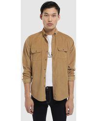Green Coast - Slim-fit Plain Camel Needlecord Shirt - Lyst
