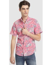 Izod - Regular-fit Red Printed Shirt - Lyst