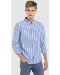 Green Coast - Blue Striped Slim-fit Oxford Shirt - Lyst
