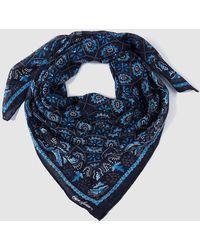 Lauren by Ralph Lauren - Navy Blue Foulard With Contrasting Floral Print - Lyst