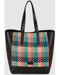 Jo & Mr. Joe - Camber Black Shopper Bag With Multicoloured Zigzag Plaiting - Lyst