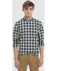 Green Coast - Slim-fit Green Checked Oxford Shirt - Lyst