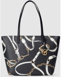 3188aaabaa51 El Corte Ingles · Lauren by Ralph Lauren - Black Nylon Tote Bag With Chain  Print - Lyst