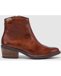Pikolinos - Brown Ankle Boots With Embroidery - Lyst