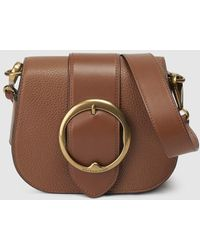 Polo Ralph Lauren - Small Brown Leather Crossbody Bag With Buckle - Lyst 85d9c55297
