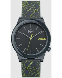 Lacoste - 2010958 Grey And Yellow Silicone Watch - Lyst