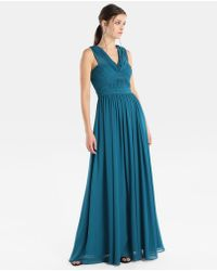 Vera Wang - Draped Halter Neck Evening Dress - Lyst