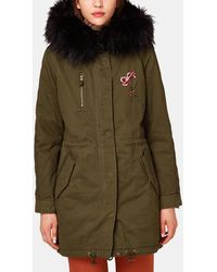 Esprit - Parka With Fur And Embroidery - Lyst