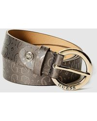 Guess - Brown Belt With Logo Embossing - Lyst