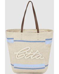 Caminatta - Tan Canvas Shopper Bag With Blue Details - Lyst