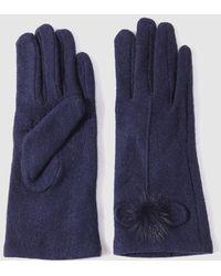 El Corte Inglés - Navy Blue Gloves With Fur Pompom - Lyst