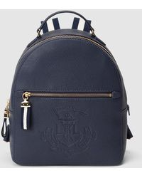 f4486722e0ec Lauren by Ralph Lauren - Navy Blue Calfskin Leather Backpack With Front  Embossing - Lyst