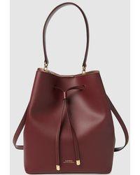 Lauren by Ralph Lauren - Burgundy Leather Bucket Bag With Taupe Interior - Lyst