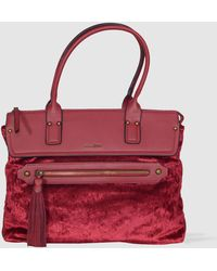 Robert Pietri - Burgundy Velvet Shopper Bag Combined With A Smooth Material - Lyst