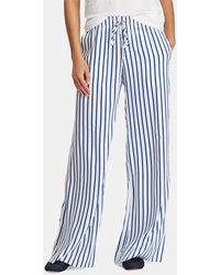 Lauren by Ralph Lauren - Striped Wide Leg Draw-cord Twill Pant - Lyst