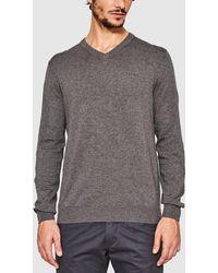 Esprit - Basic Grey V-neck Sweater - Lyst