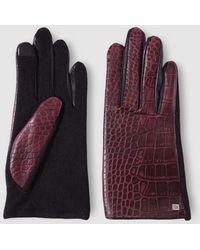 Lauren by Ralph Lauren - Maroon Leather And Wool Gloves - Lyst