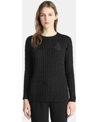Lauren by Ralph Lauren - Cable Stitch Jumper With Embroidery - Lyst