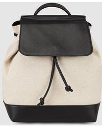 El Corte Inglés - Wo Two-tone Beige And Black Canvas Backpack - Lyst