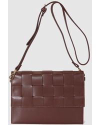 El Corte Inglés - Wo Dark Brown Crossbody Bag With Plaited Flap - Lyst