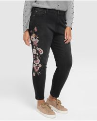 Couchel - Plus Size Skinny Jeans With Embroidered Flowers - Lyst