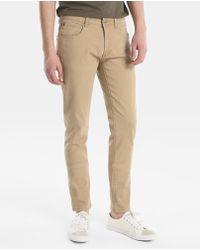 Green Coast - Beige Slim-fit 5-pocket Trousers - Lyst