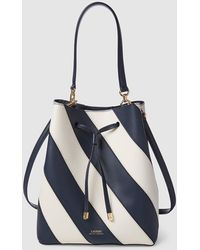 a76efce387 Lauren by Ralph Lauren - Medium Two-tone Navy Blue And White Striped Leather  Bucket