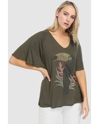 Couchel - Plus Size Short Sleeve T-shirt With Front Print - Lyst