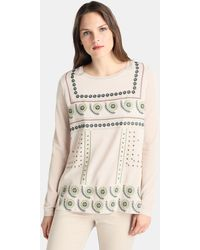 Zendra El Corte Inglés - El Corte Inglés Zendra Beige Jumper With Embroidery - Lyst