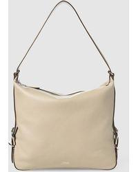 5ea3d3227f99 Lauren by Ralph Lauren - Grey Calfskin Leather Hobo Bag With Zip - Lyst