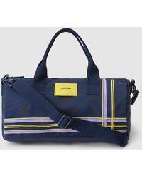 016692033d Jo   Mr. Joe - Blue Striped Neoprene And Nylon Morning Runner Sports Bag -