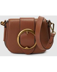 485c5692fa76 Polo Ralph Lauren - Brown Leather Mini Crossbody Bag With A Buckle - Lyst