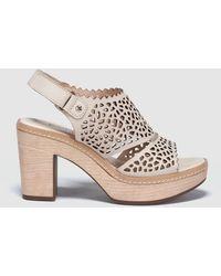 Pikolinos - Cream Cutwork Leather High-heel Sandals - Lyst
