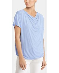 Lauren by Ralph Lauren - Short Sleeved Draped Neckline T-shirt - Lyst